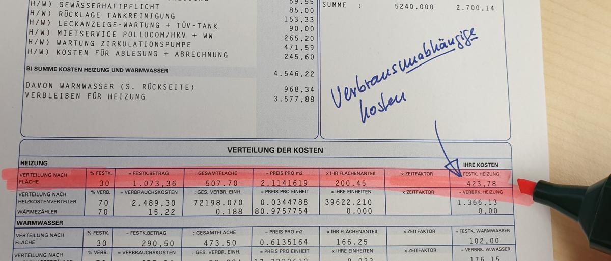 Heizkostenabrechnung verbrauchsunabhängige Kosten