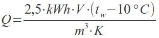 Q = (2,5 * E * V * (t[w] - 10)) / (A * K)