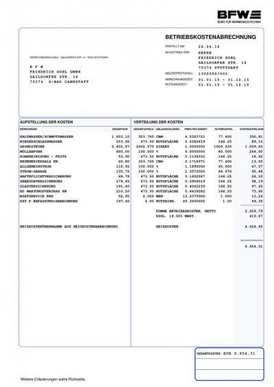 Übersicht Betriebskostenabrechnung
